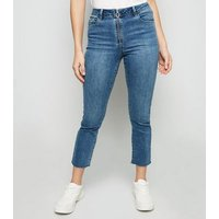 Petite Blue Ring Zip Front Skinny Jeans New Look