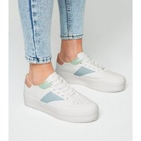 White Leather-Look Colour Block Trainers New Look