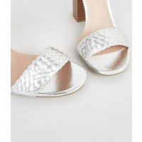 Silver Woven Strap Block Heel Sandals New Look