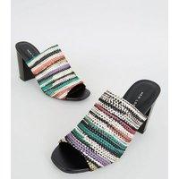Multicoloured Woven Strap Block Heel Mules New Look
