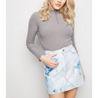 Petite Blue Tie Dye Denim Mom Skirt New Look