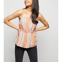 Petite White Stripe Linen Blend Tie Back Cami New Look