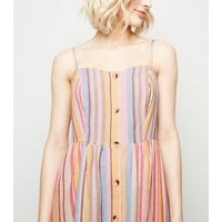 Tall Pink Multi Stripe Button Up Midi Dress New Look