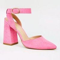 Bright Pink Suedette Flare Heel Court Shoes New Look