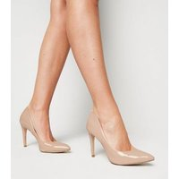 Cream Patent Stiletto Heel Pointed Courts New Look Vegan