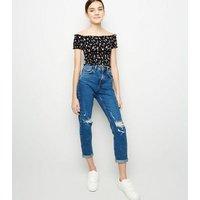 Girls Black Ditsy Floral Shirred Bardot Top New Look