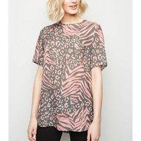 Tall Pink Mixed Animal Print T-Shirt New Look