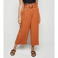 Petite Rust Linen Look Crop Trousers New Look