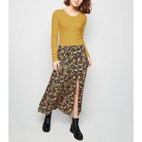 mustard-rib-button-front-frill-hem-cardigan-new-look