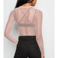 Pale Pink Fishnet Long Sleeve Top New Look
