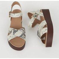 Stone Faux Snake Wood Flatform Sandals New Look
