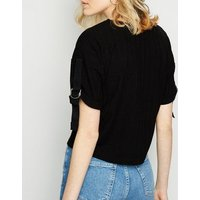 black-fine-knit-buckle-sleeve-top-new-look