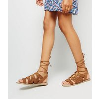 Girls Tan Woven Lace Up Ghillie Sandals New Look