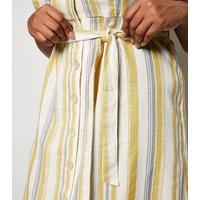 Curves Off White Stripe Linen Look Midi Dress New Look