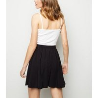 Black Button Up Mini Skirt New Look