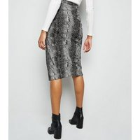 Light Grey Snake Print Button Side Pencil Skirt New Look