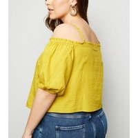 Curves Mustard Stripe Cold Shoulder Top New Look
