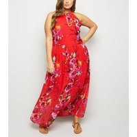 Blue Vanilla Curves Red Floral Halterneck Dress New Look
