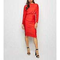 AX-Paris-Red-Ruched-Slash-Neck-Dress-New-Look