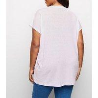 Blue Vanilla Curves Lilac Button Shoulder Top New Look