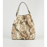 Nude Faux Snake Duffle Bag New Look