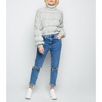 cameo-rose-grey-roll-neck-bubble-jumper-new-look