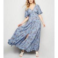 Blue Vanilla Pale Blue Floral Button Up Maxi Dress New Look