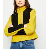 Cameo Rose Yellow Colour Block Fleece Jacket New Look