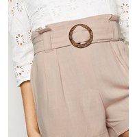 Stone Linen Look Buckle Shorts New Look