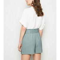 Light Green Linen Look Buckle Shorts New Look