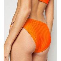 Orange Neon High Shine Hipster Bikini Bottoms New Look