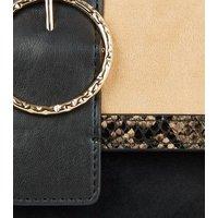 Brown Faux Snake Colour Block Shoulder Bag New Look