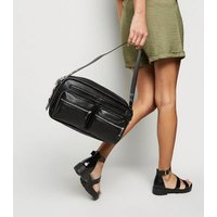 Black Leather-Look Utility Shoulder Bag New Look