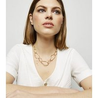 Gold Abstract Chain Necklace New Look