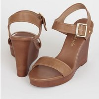 Tan Leather-Look 2 Part Wood Wedges New Look