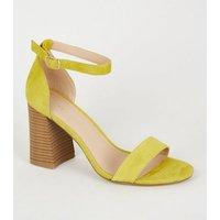 Yellow Suede Flare Block Heel Sandals New Look