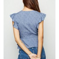 Blue Ditsy Floral Button Up Blouse New Look