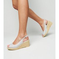 Wide Fit Silver Glitter Espadrille Wedges New Look