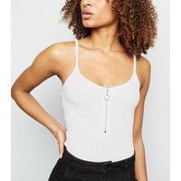 Cream Ribbed Zip Front Bodysuit New Look