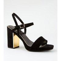 Wide Fit Black Metal Heel Platform Sandals New Look Vegan