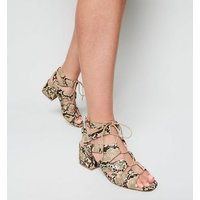 Stone Faux Snake Lace Up Ghillie Sandals New Look Vegan