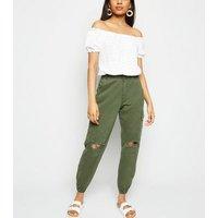 Petite Khaki Ripped Knee Utility Trousers New Look