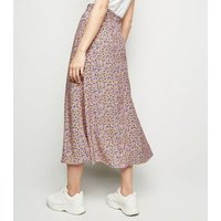 Tall Pink Ditsy Floral Print Midi Skirt New Look