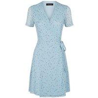 Blue Floral Mesh Mini Wrap Dress New Look