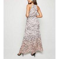 Pink Ombré Tiger Print Tiered Maxi Dress New Look