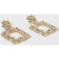 Gold Premium Diamante Door Knocker Earrings New Look