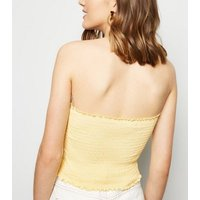 Pale Yellow Shirred Bandeau Top New Look