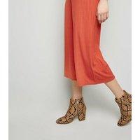 Orange Ribbed Ring Zip Jumpsuit New Look