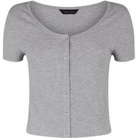 Grey Marl Popper Front T-Shirt New Look