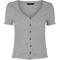 Grey Marl Ribbed Button Front Frill Trim Top New Look